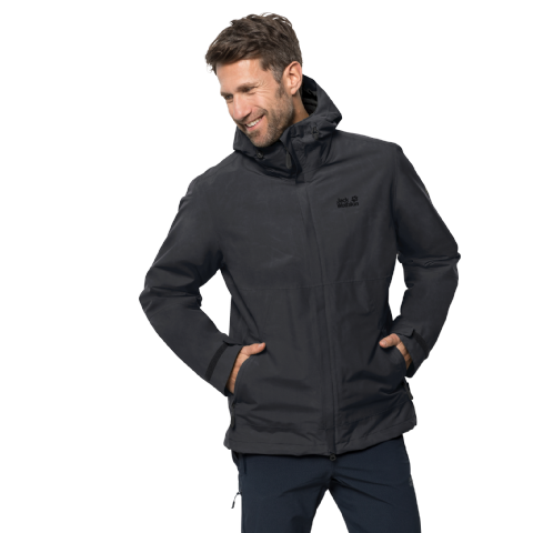 Jack Wolfskin Mens Seeland 3 In 1 Waterproof Jacket - Black